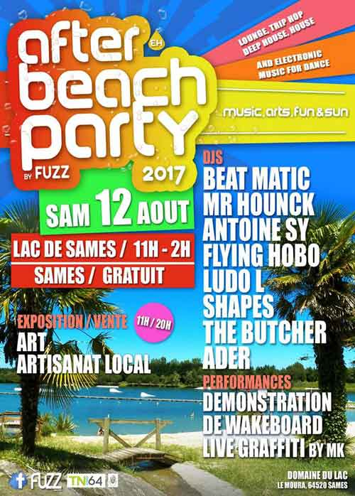 affiche after beach party du domaine du lac de sames